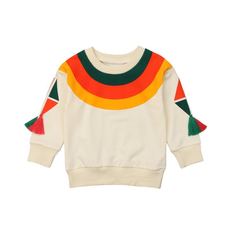 Modemarke Kinder Baby Mädchen Regenbogen Striped Hoodies Tops T shirt Quaste Langarm Kleidung Winter Warme Baumwolle Weiche Kleidung