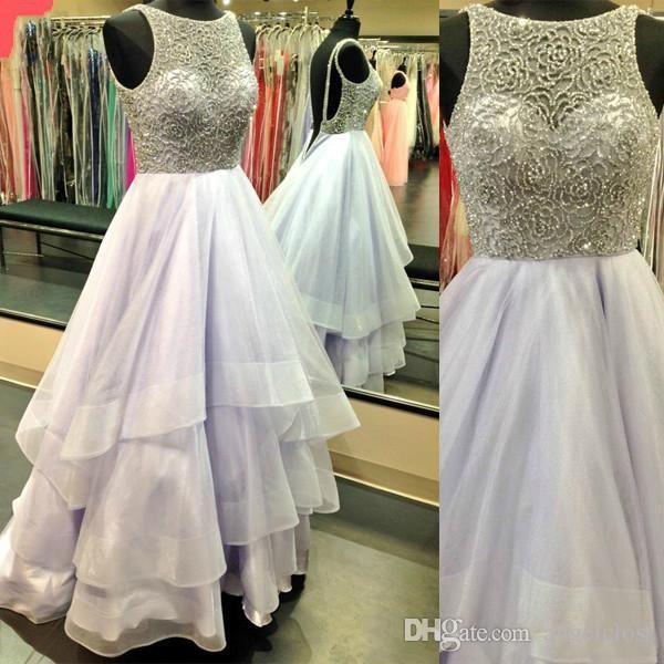 Romántico con gradas vestidos de fiesta vestidos de baile 2018 Cuello de joya Rebordear Sin mangas Lavanda Fiesta larga Vestidos formales Fiesta Vestidos de cóctel