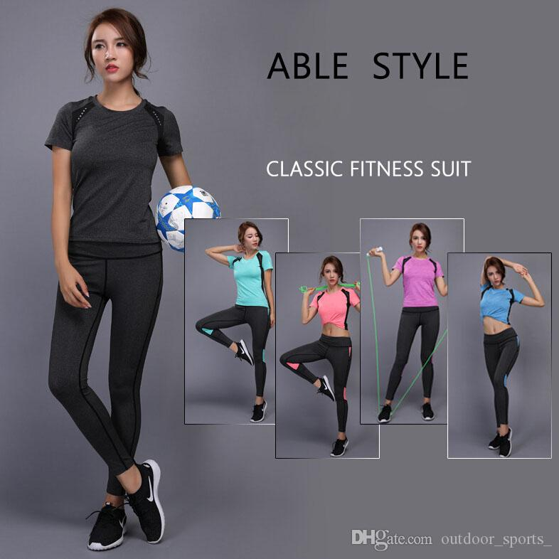 3103ce8326c 2019 BINTUOSHI Women Yoga Set Gym Fitness Clothes Tennis Shirt+Pants  Running Tight Jogging Workout Yoga Leggings Sport Suit Plus Size From  Outdoor sports