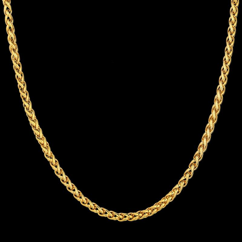 Choker Chains 18K Real Gold Plated Necklace 3MM Fashion Jewelry For Men Male Party Gift Rock Rapper Charming Cuban Link Chain