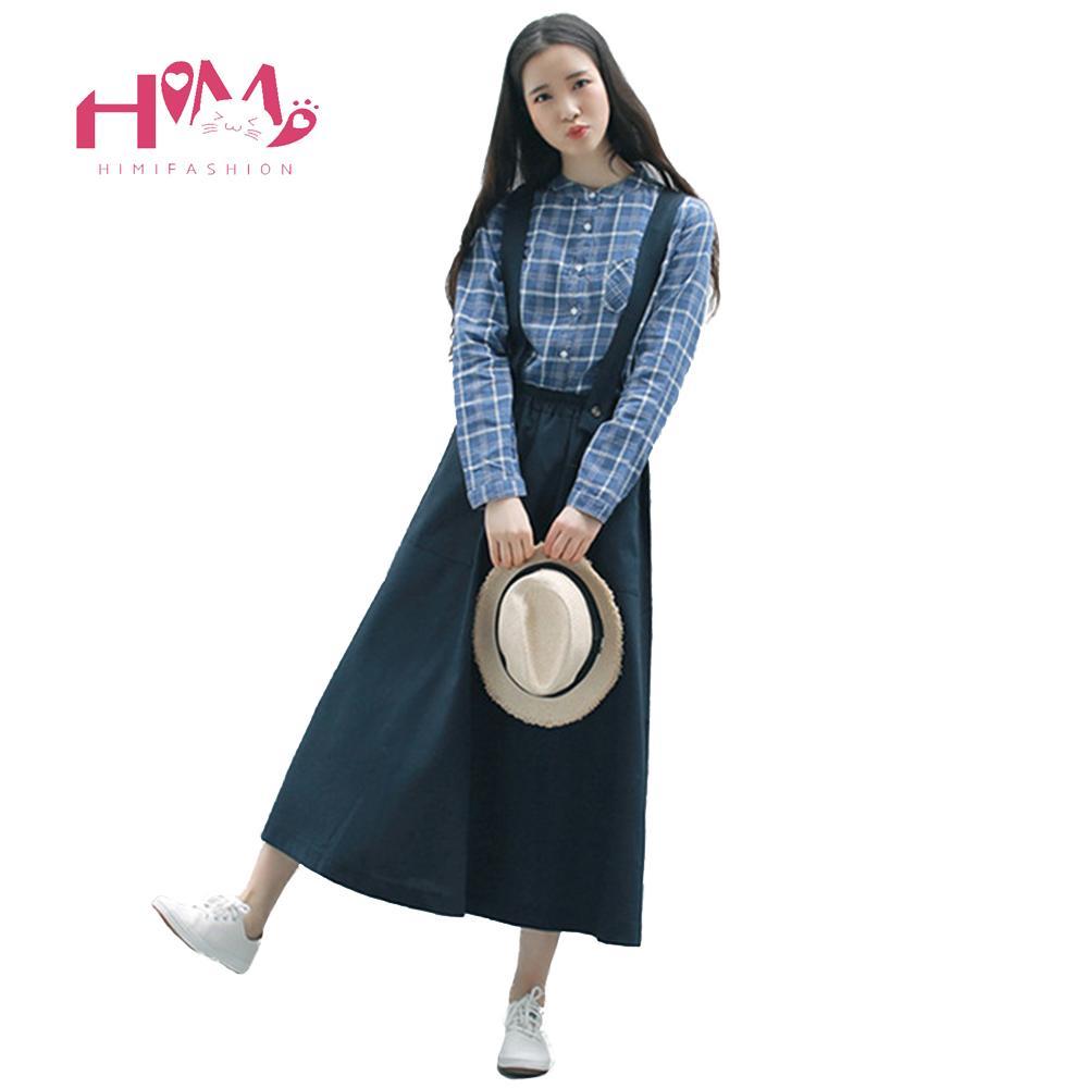 3b43bbf841b 2019 2018 Vintage Long Suspender Black Skirt For Women Japanese Preppy Maxi  Linen Overalls Mori Girl Navy Female High Waist Skirts From Sugarlive