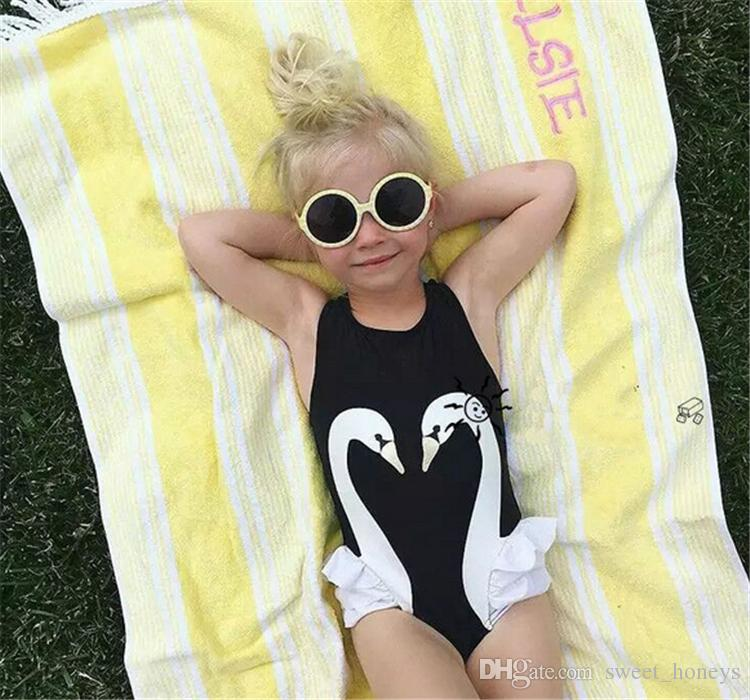 Baby Girls Swimsuit Kids Cartoon Swimwear Swimming Cap Parrot Swan Flamingo Girl Bathing Suit Children Swim Wear