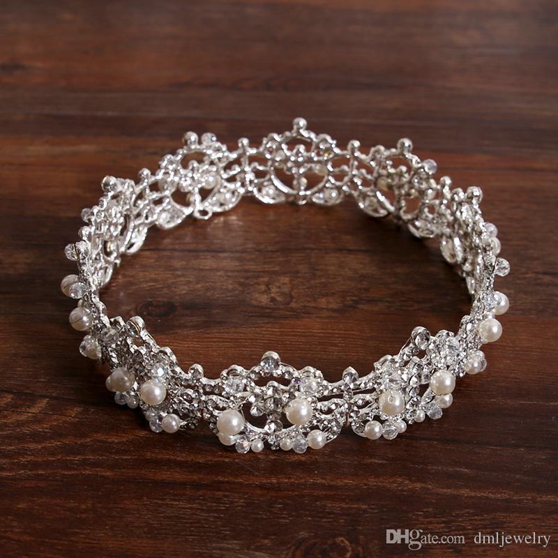 Corée Perles Cristal Nuptiale Couronnes Bandeaux Girlsl Diadèmes Femmes Bandeaux Banquet Coiffures Diadème Tiara Voile De Mariage Cheveux Accessoires