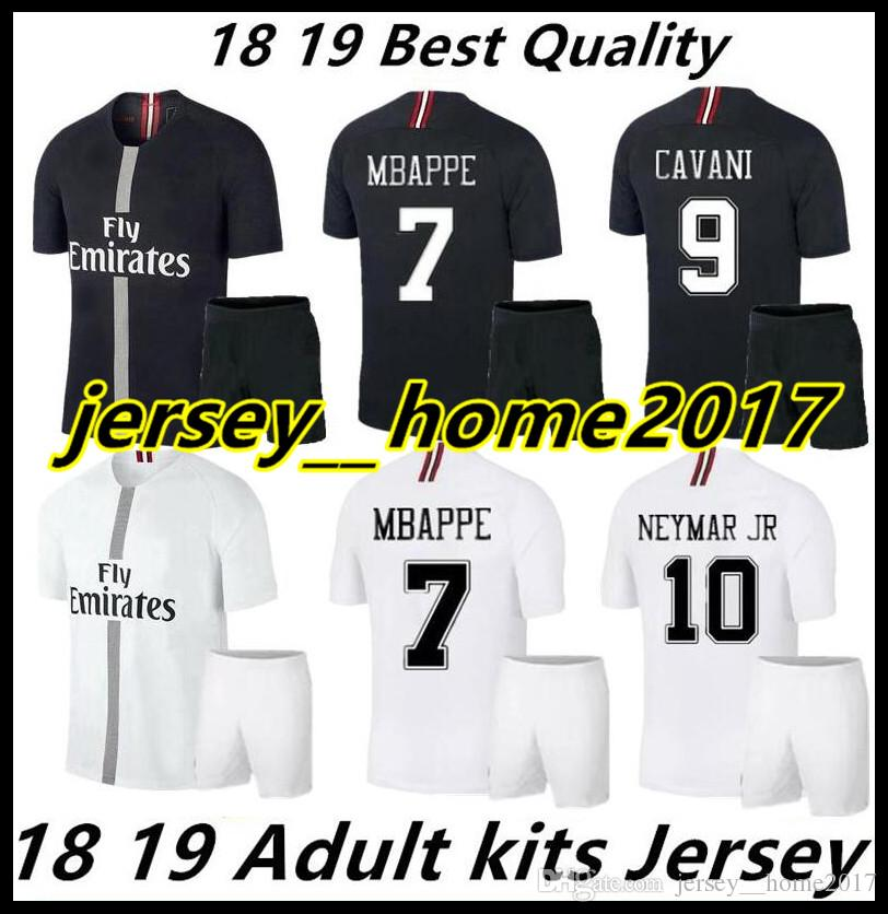 f141b608b77f93 2019 18 19 PSG CHAMPIONS LEAGUE ADULT KITS SOCCER JERSEYS BLACK HOME MBAPPE  AWAY WHITE 2018 VERRATTI 6 CAVANI JERSEY MAILLOT DE FOOT SHIRT From ...