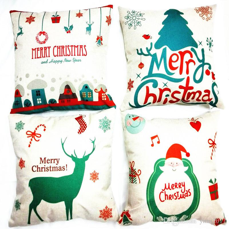 Compre 4 Diseños De Navidad Al Por Mayor Funda De Cojín Decoración ...