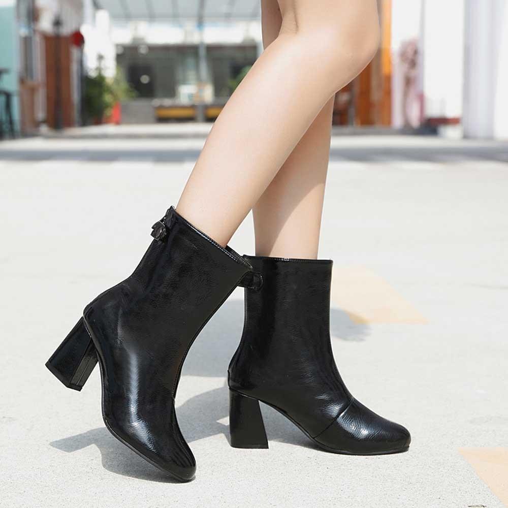 71cb66b3b1f Compre YOUYEDIAN Mujer Botas 2018 Botas De Tacón De Cuero De Mujer Zapatos  De Invierno Casual Zipper Negro Zapatos De Botas Mujer A  33.29 Del  Slimwindy ...