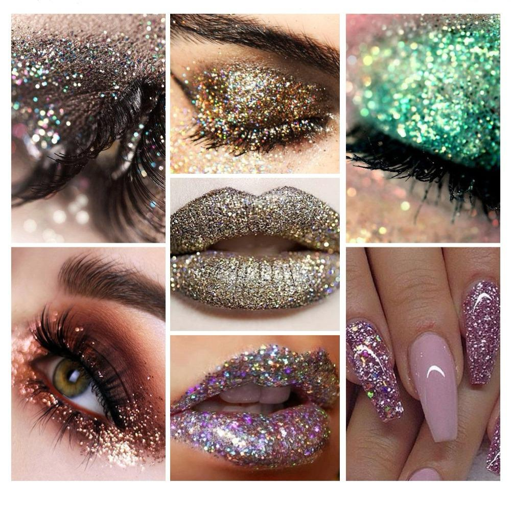 QIBEST Brand 20 Color Makeup set Glitter Eye Shadow Face Eyes Lips Nails Shimmer Glitter powder & Glue Waterproof Colorful Laser