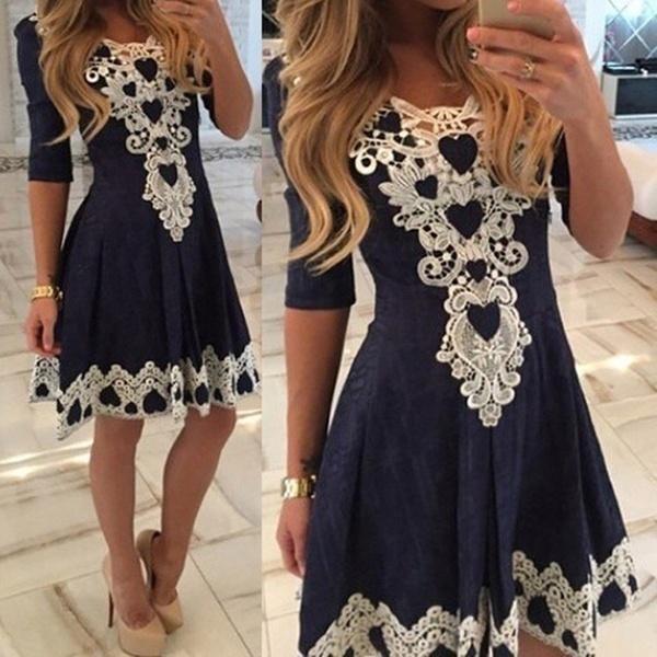 1c43277f1910e Satın Al A Line Solid Elbise Dantel Elastik Kumaş Elbise, $28.15 |  Dhgate.Com'da
