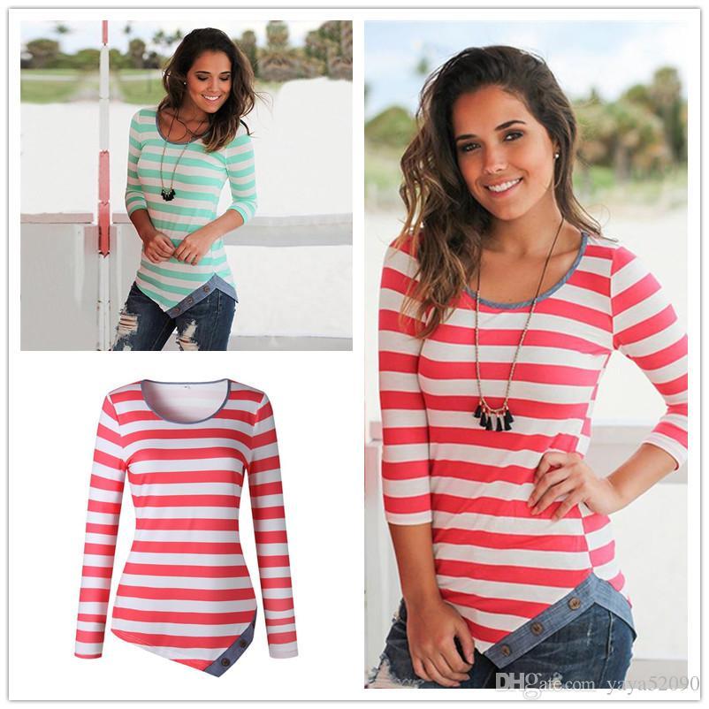 Compre Camisas De Diseñador A Rayas Para Mujer 2018 Ropa De Dama Camiseta A Rayas  De Manga Larga Para Mujer Camisas Con Cuello Redondo Básicas Para Las ... 960285454673b