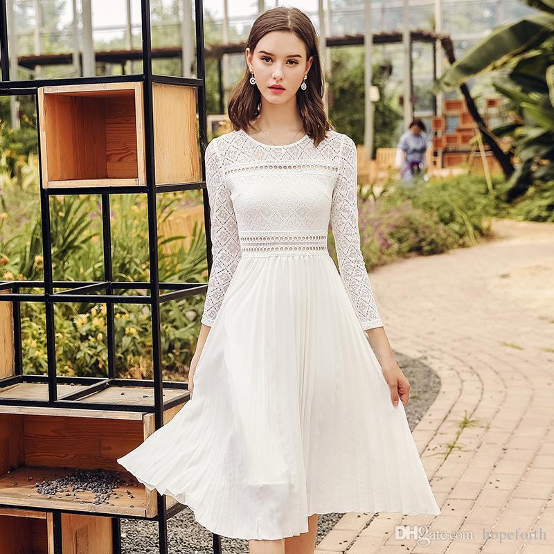 bbf65147fb162 Compre Vestido Casual Para Mujer Con Cuello Circular S XL 2018 Vestido  Largo De Mujer Con Falda De Encaje Nuevo Otoño Vestido Plisado A  25.99 Del  Hopeforth ...