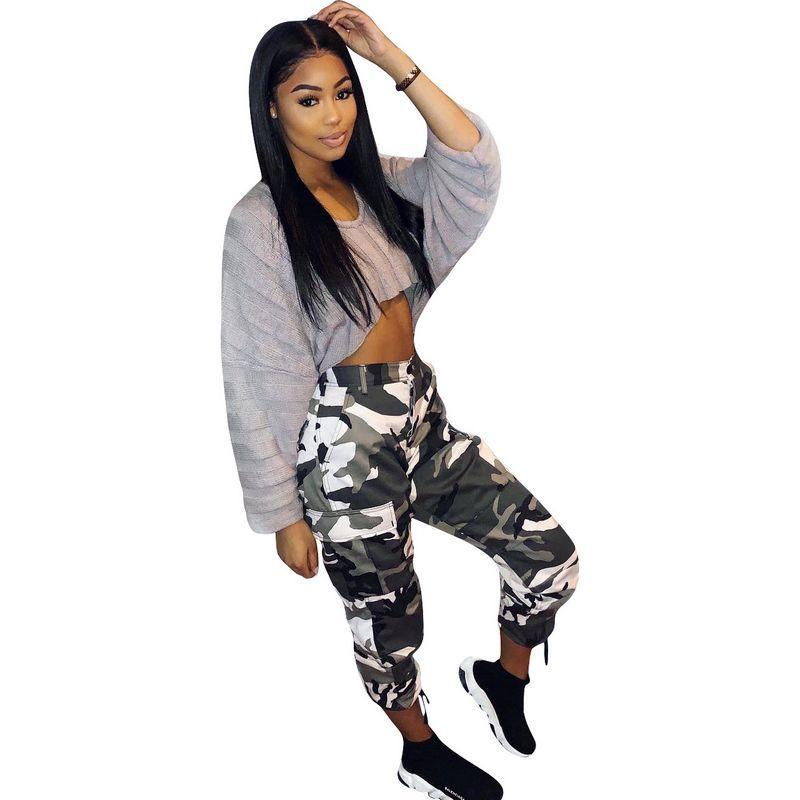 2018 NEW Camouflage Pants Women CHEAPEST Camo Military Pants Jean Fabric F498 Casual Harem Pants Capris