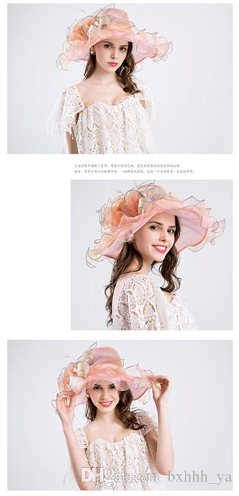 Fashion Summer Organza Sun Hats For Women Elegant Laides Church Vintage Hat Wide Large Brim With Big Flower