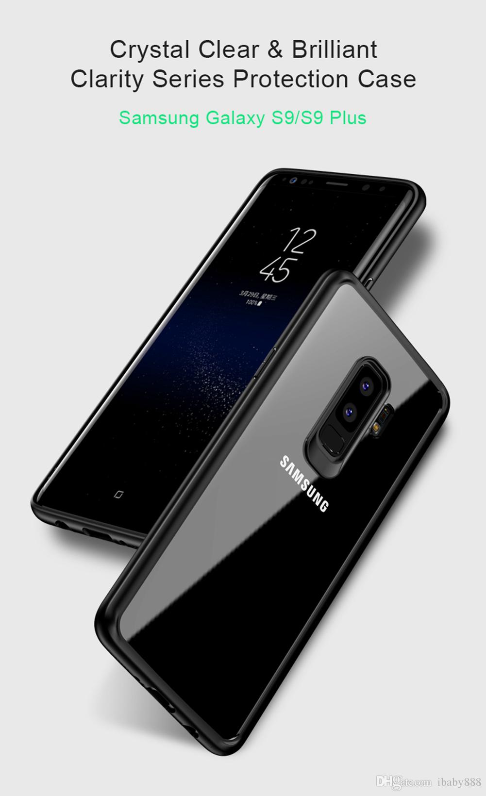 Contraportada transparente transparente para PC de Crystal Clear HD con silicona suave TPU Parachoques Anti-huellas dactilares antiarañazos para Galaxy S9 + iPhone X 8 Plus