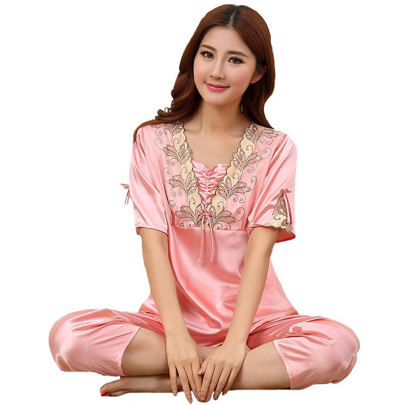 087f8d1e7e 2019 New Style Faux Silk Pajamas Pijama Set 2018 Summer Home Wear Women  Sleepwear Short Sleeve Nightwear Suit Negligee M XXL From Jiguan