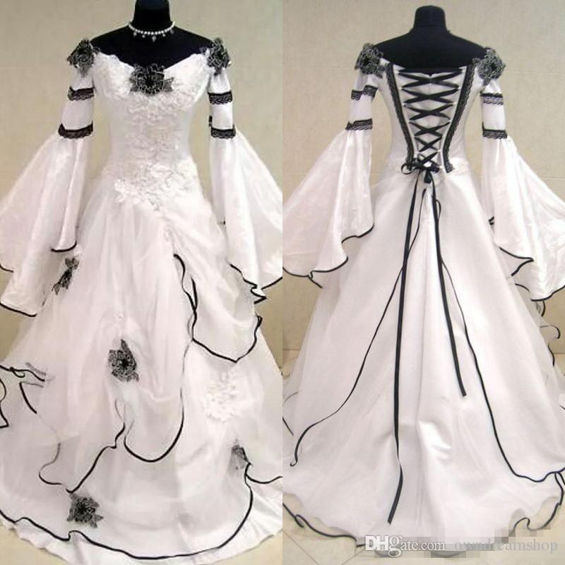 Renaissance Wedding Dress.Renaissance Vintage Black And White Medieval Wedding Dresses For Arabic Women Celtic Bridal Gowns With Fit And Flare Sleeves Flowers
