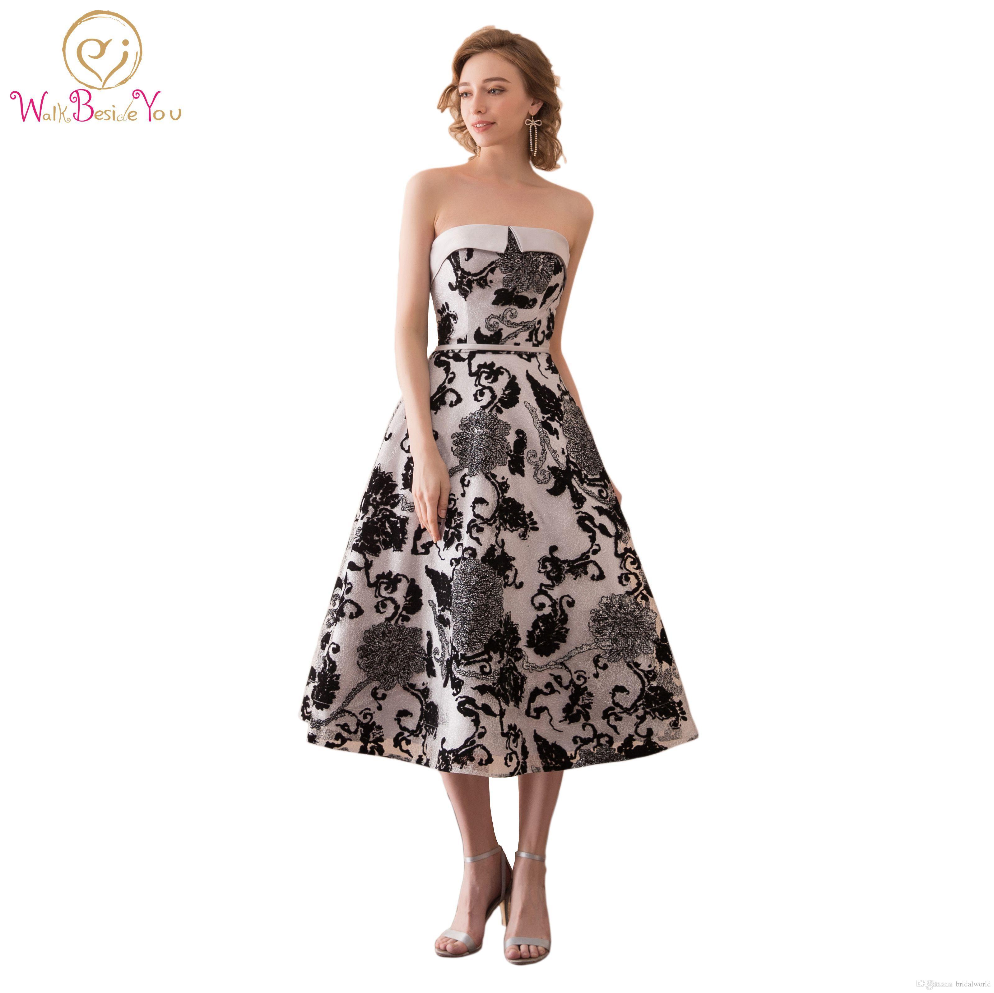 c26f6bd95c Walk Beside You Fashion Black Print Prom Dresses Strapless Vestidos De  Graduacion Cortos Vestidos De Formatura Tea Length Evening Gowns Short Blue  Prom ...