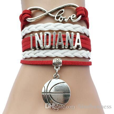 hot sale drop shipping new arrival Custom Infinity Love Indiana Us State Name Basketball Charm Sports Bracelet Drop Shipping