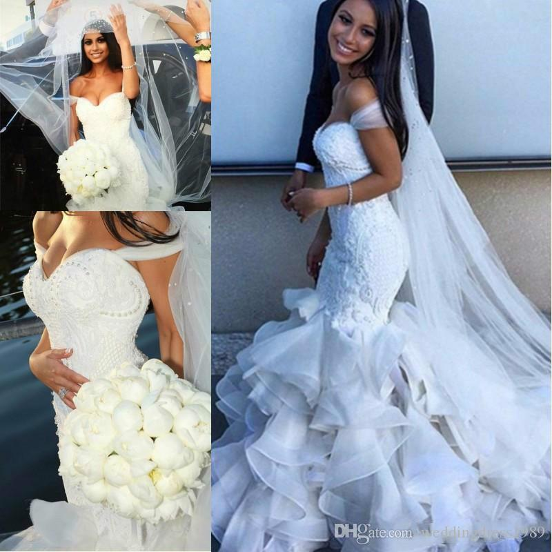 Luxury Ruffle Lace Organza Mermaid Wedding Dresses Tier Plus Size ...