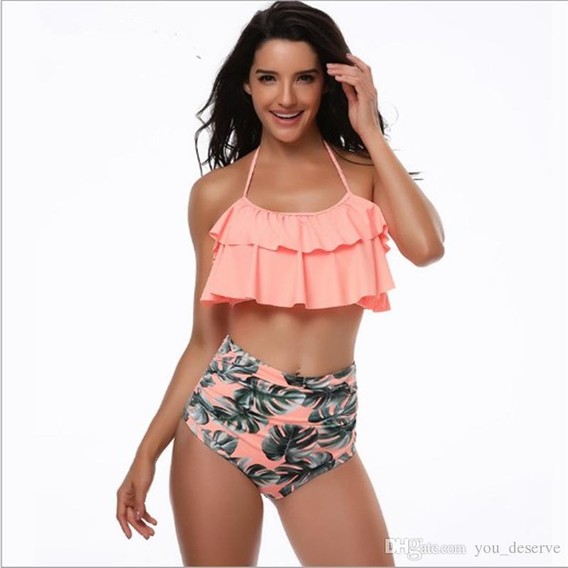 Piezas Dama Sexy 2018 Triángulo De Naranja Dos Llegadas Sujetador Traje Bikini Nuevas Hight Baño Cintura 1lFJKc