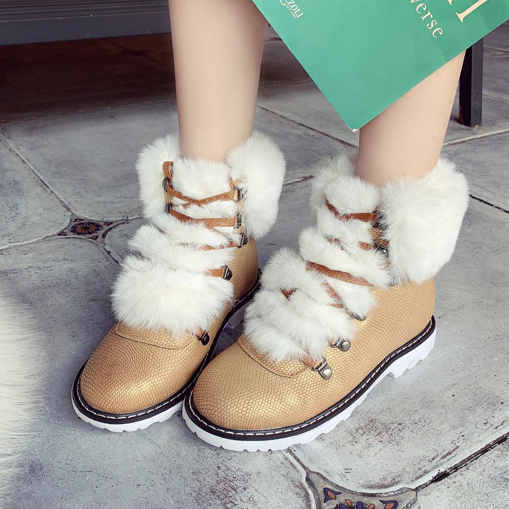 90c88b2c534c YOUYEDIAN Women Boots 2018 Faux Fur Snow Boots Lace Up Women Winter Shoes  Flat Casual Warm Low Heel Botas Mujer Work Boots Knee High Boots From  Grapeen