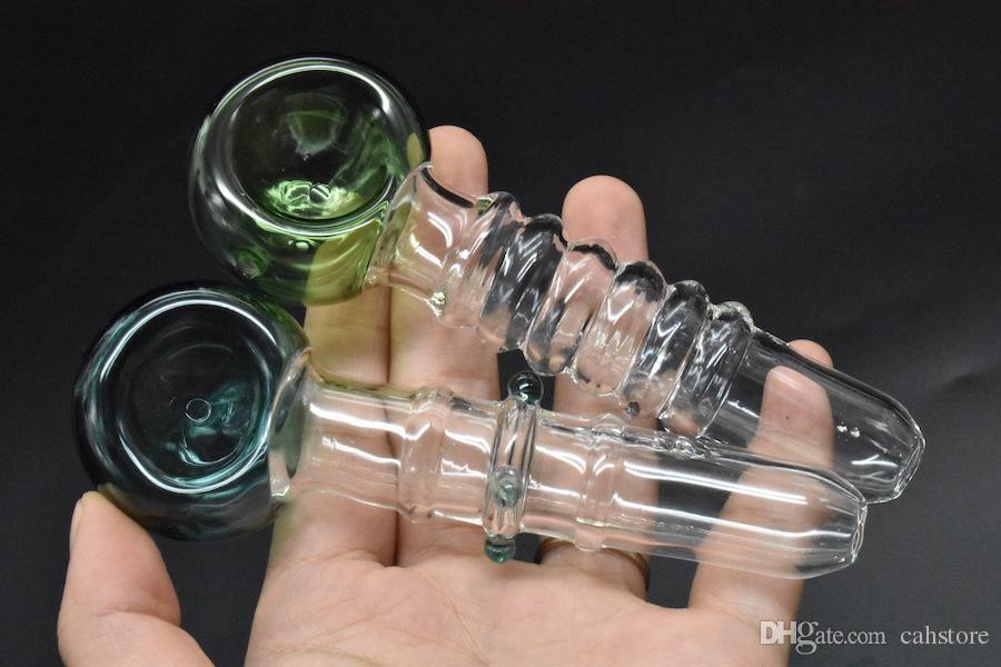El más nuevo 12 cm hecho a mano hierba seca Pipa gruesa pipas gruesas mano embriagadora mano herbaria pipa tubo de aceite de vidrio