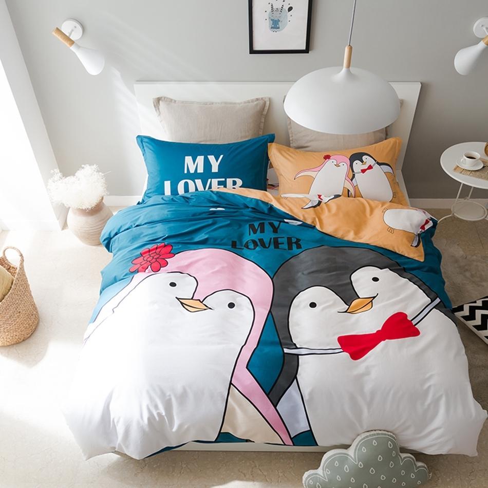 100 Cotton Penguin Duvet Cover Set Twin Queen Size Bedding Set For