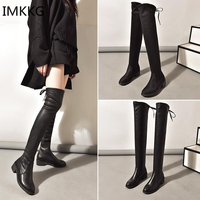 d9b793fe4a Women Shoes New Over The Knee Thigh High Black Boots Women Motorcycle Long  Boots Low Heel Suede Leather Shoes V383 Booties Football Boots From  Potatoo, ...