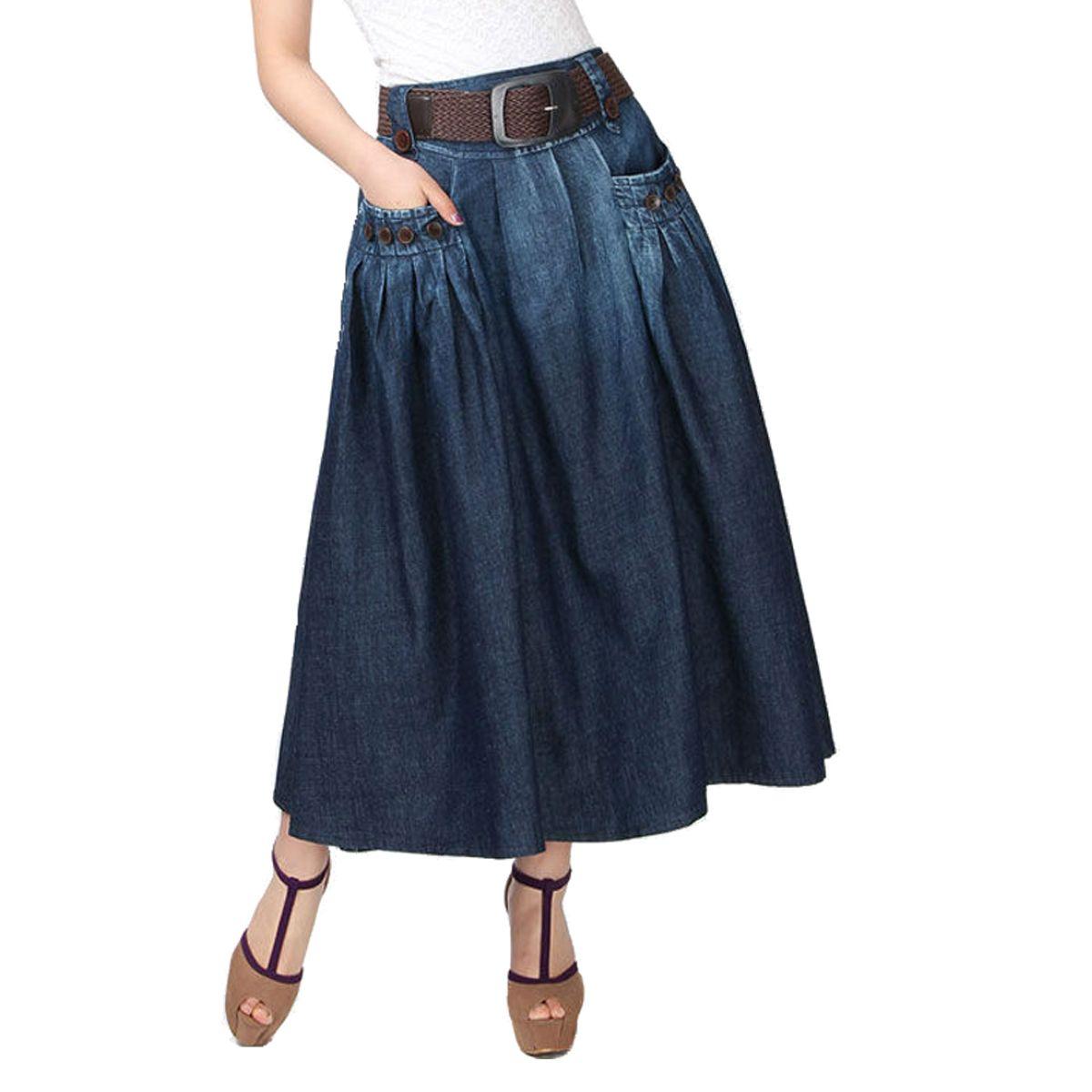 603fc3f37 Compre Envío Gratis 2016 Nueva Primavera Verano Moda Vintage Denim Sueltos  Casual Jeans Faldas Largas Para Mujer Con Cinturón   Feminina Falda Vaquera  A ...