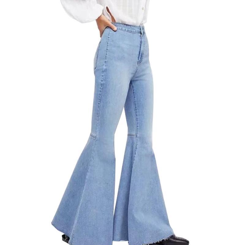d387bdef8c174 Compre MORUANCLE Moda Para Mujer Pantalones Vaqueros Acampanados Pantalón  Ancho Pantalones Pantalones Vaqueros Pantalón Con Capucha Pantalon Femme  Lavado ...