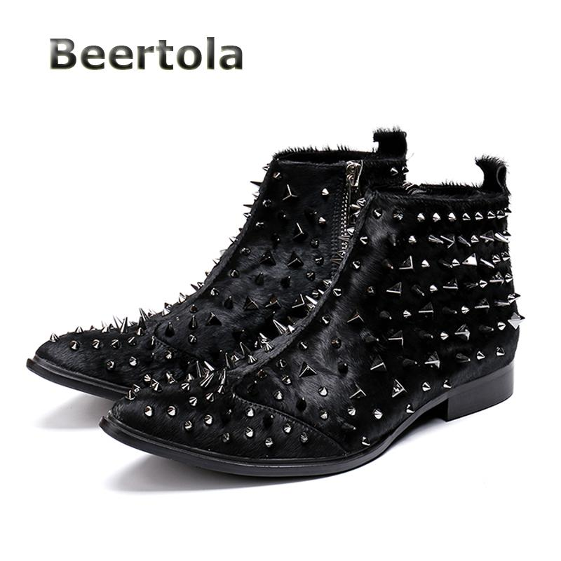 613844507e1 Beertola Genuine Leather Boots Pointed Zip Ankle Boots Men Fashion Men  Rivet Shoes Low Heels Rivets Studded Ankle