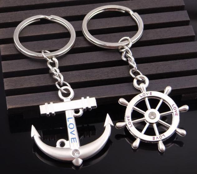Anchor Rudder Keychains Favor Lovers Wedding Gifts Couples Keyrings with Crystal Top Quality Alloy Car Key Rings