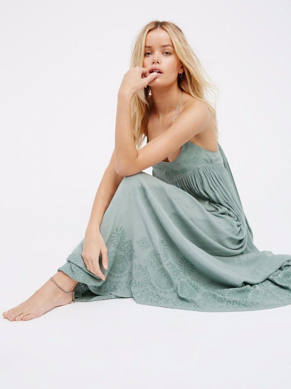 BOHO Rahat Işlemeli Maxi Elbise Spagetti Seksi Backless Uzun Elbise Sallamak Elbise Tatil Plaj Vintage Boho Vestidos Kadın Elbiseler 2019