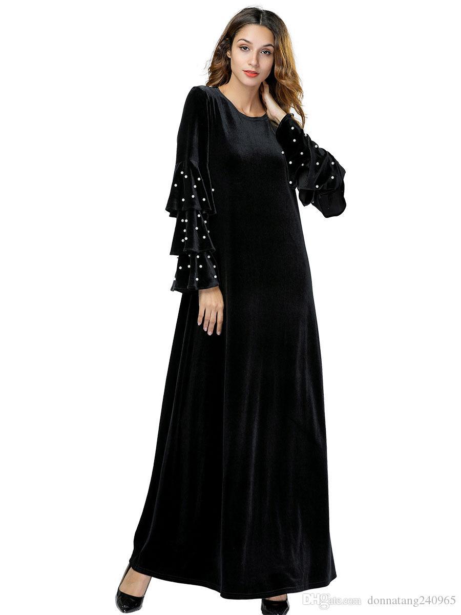 Acquista Abito Musulmano Con Perline Abito Tunica In Velluto Abbigliamento  Abaya Abbigliamento Donna Tromba Manica Abra Dubai Abito Islamico Hijab  7434 A ... 71d8de3ef52