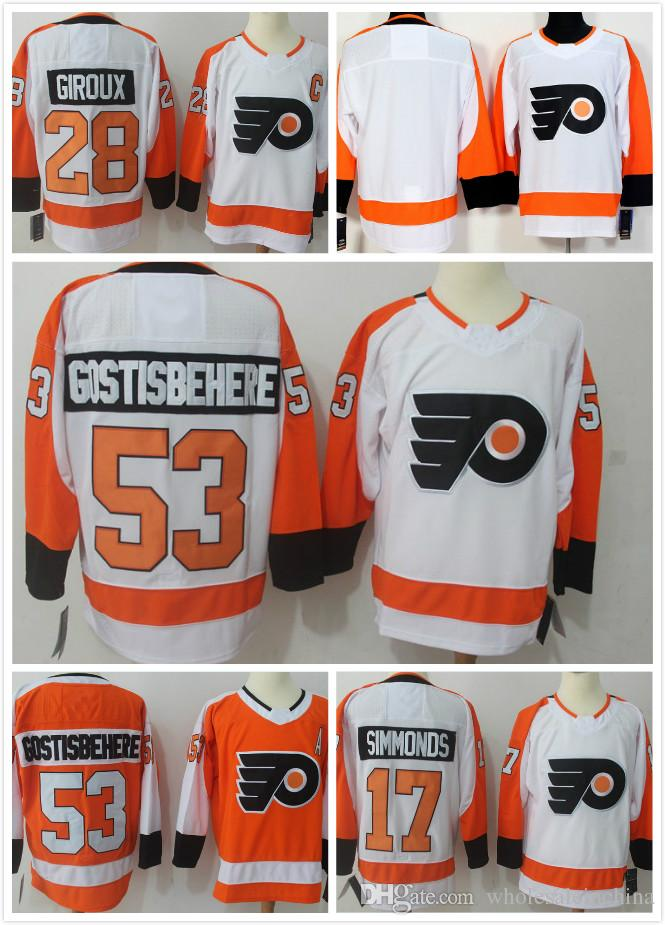 online store a7212 d36c0 Men's Ice Hockey Philadelphia Jerseys 53 Gostisbehere 28 Claude Giroux 93  Voracek Hockey Stitched jersey Best quality Mix Order