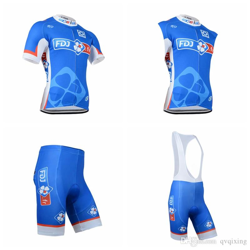 FDJ Team Cycling Short Sleeves Jersey Bib Shorts Sleeveless Vest Sets  Breathable Bike Riding Wear Bicycle Jersey 3D Gel Pad Pants F1608 Mens Cycling  Shorts ... 88fb73575