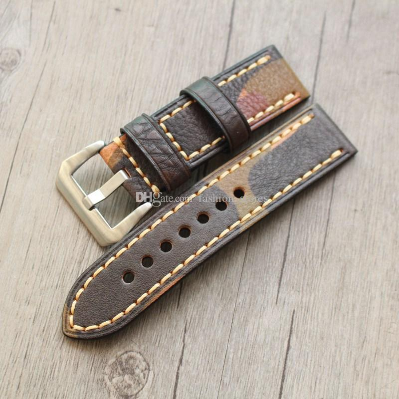 Best Leather Watch Straps >> Camouflage Style Stitches Genuine Leather Straps Watch Band With Stainless Steel Buckles 20mm 22mm 24mm 4pcs Lot