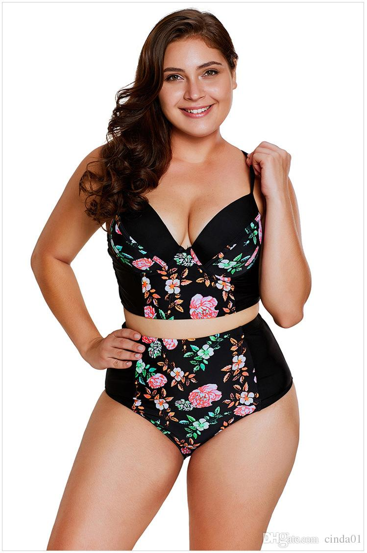 플러스 사이즈 M-3XL 여성 꽃 Tankinis 삼각형 컵 브래지어 패딩 된 V 넥 수영복 해변 착용 섹시한 옷