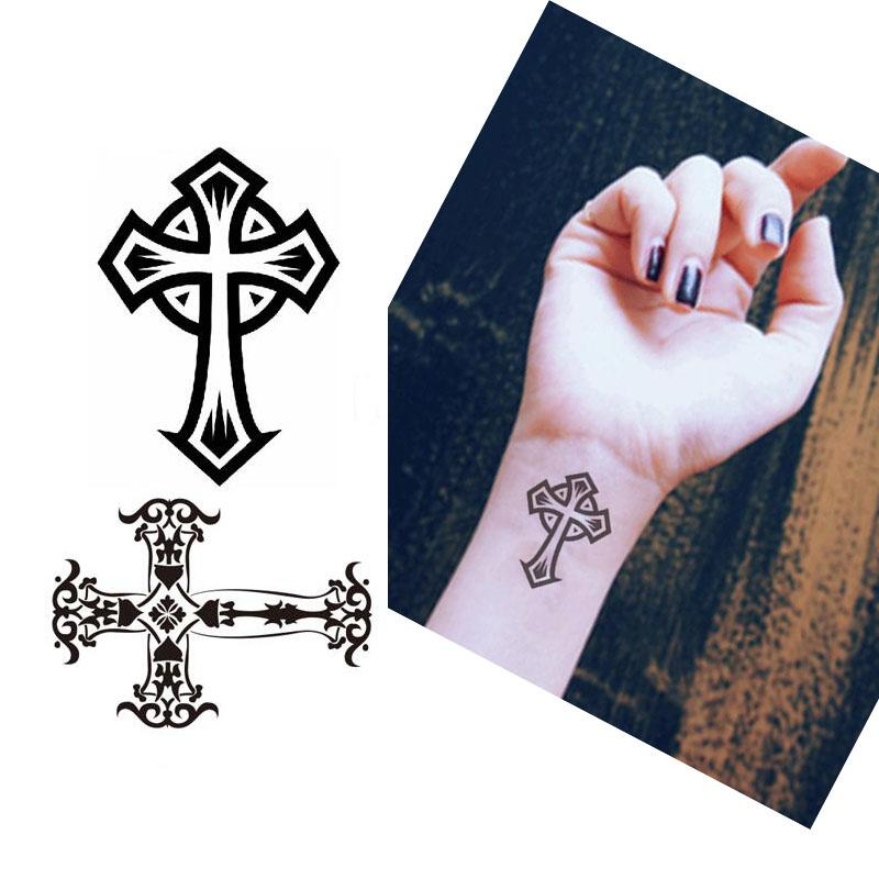picture regarding Printable Temporary Tattoos named 5Personal computers Neat Black Cross Ideas Water-resistant Short-term Tattoo Mens Overall body Arm Artwork Sticker Wrong Tattoos Paper Sleeve Sticker Wholesale