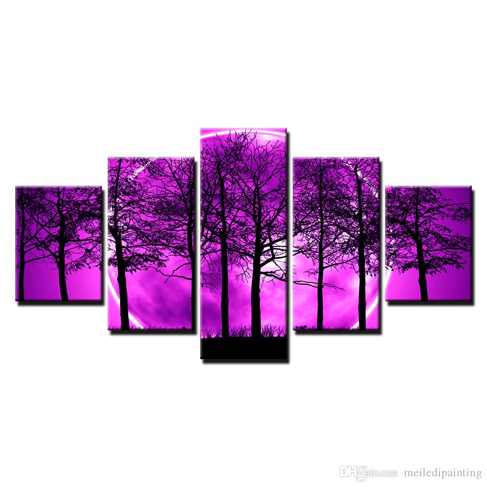 0ea2ab023fd 2019 HD Prints Canvas Room Home Decor Pictures Purple Moon Night  Psychedelic Forest Painting Wall Art Trees Poster Framework From  Meiledipainting