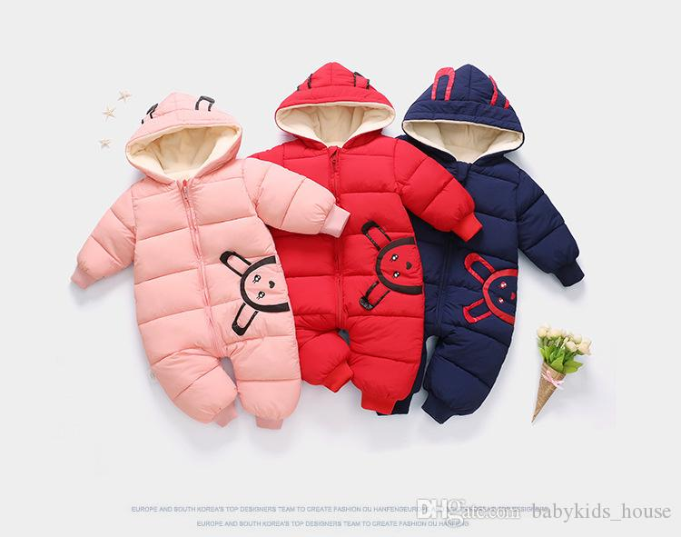 2deb615990f19 2019 2018 New Born Baby Wear Winter Jumpsuit Snowsuit Boy Warm ...