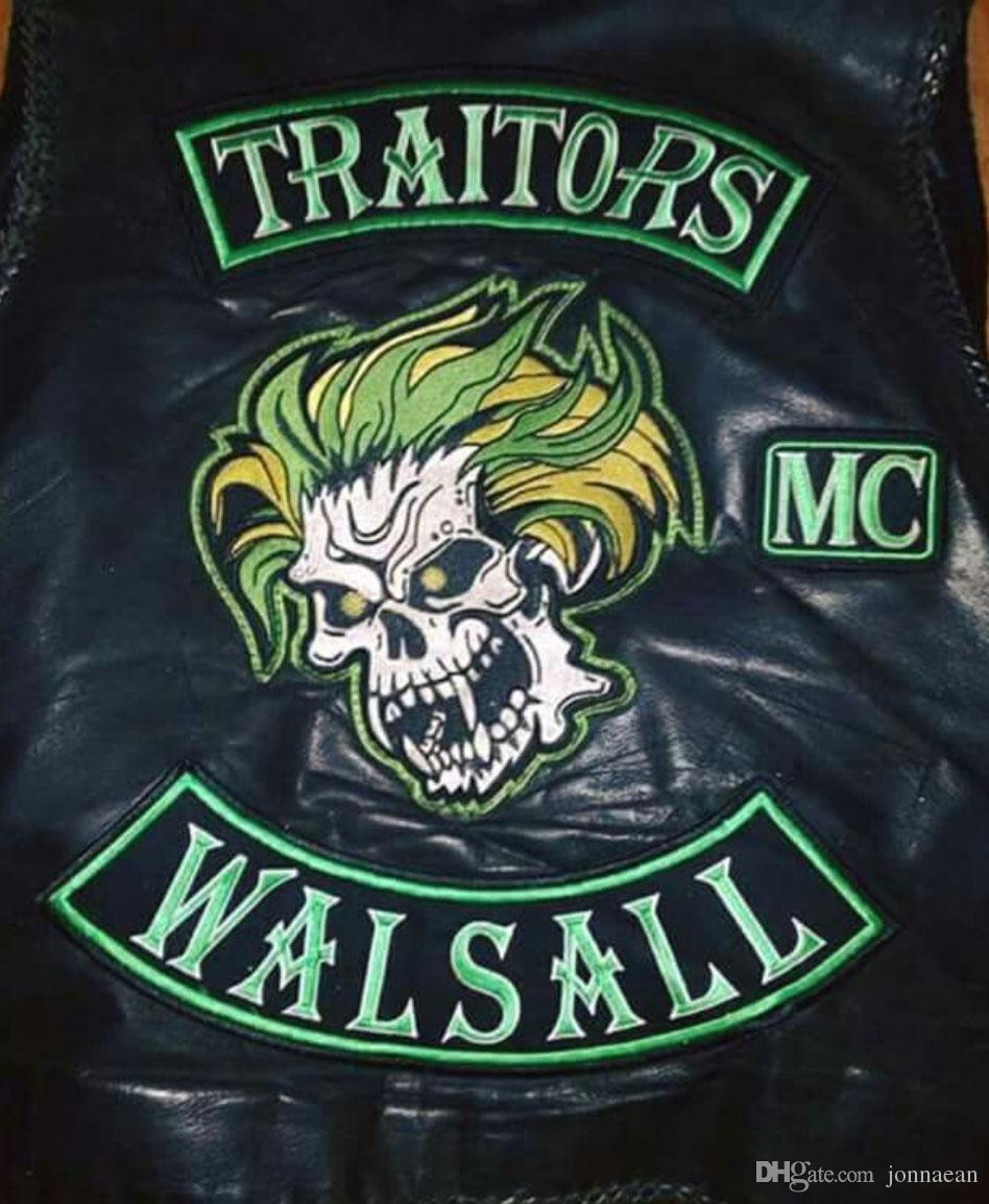 HOT SALE TRAITORS WALSALL SKULL MOTORCYCLE COOL LARGE BACK PATCH ROCKER CLUB VESTOUTLAW BIKER MC PATCH