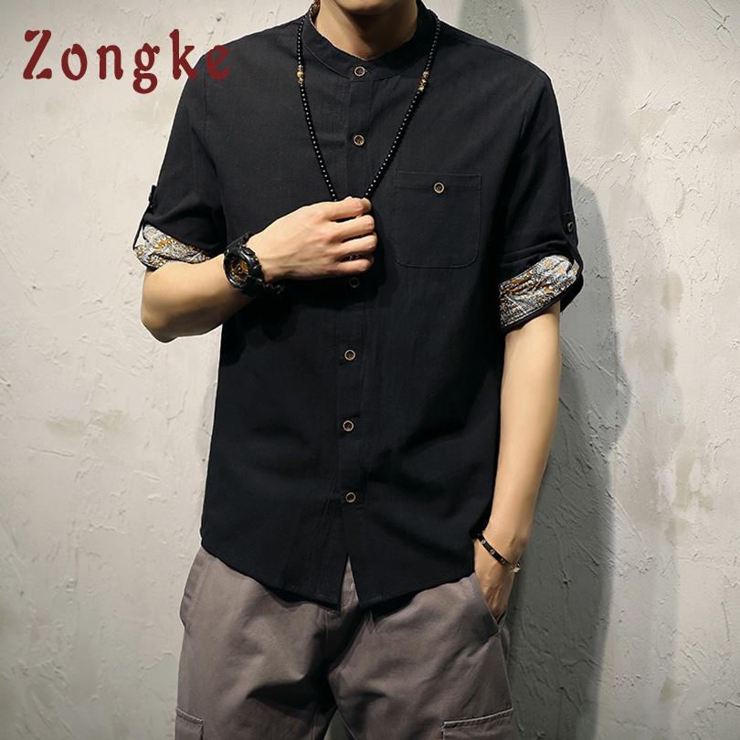 Acquista Zongke Casual Lino Camicie Uomo Mezza Manica Camicia Di Lino  Cinese Uomo Fashions Camicie Bianco Social Big Size 5XL 2018 Estate A   35.69 Dal ... a925e6199e9