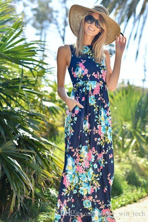 33f63931856 Fashion Women Sleeveless Halter Long Dress Cross Neck Floral Printed Pure  Cotton Beach Evening Party Maxi Mother Daughter Parent Child Dress Long  Sleeve ...
