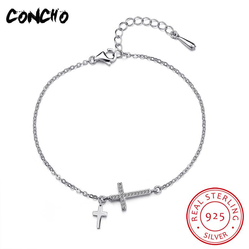 Concho Jewelry 925 Sterling Silver Two Cross Zircon Bracelet For Women Design Anniversary Best Jewellery 2018 Hot Sale