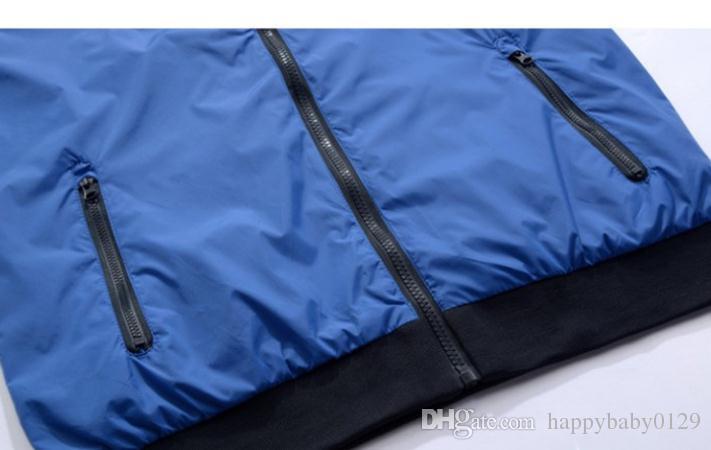 Mode nouveau bleu à manches longues hommes veste manteau Automne sports Outdoor windrunner avec fermeture éclair coupe-vent hommes
