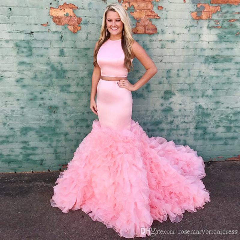 Pink Mermaid Prom Dresses Two Pieces Handmade Flower Train African Black  Girl Fashion Evening Formal Gowns Ruffles Vestidos De Festa Inexpensive Prom  ...