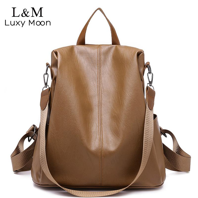 bc01e31601 New Leather Backpack Women Anti-theft Backpacks For Teenage Girls ...
