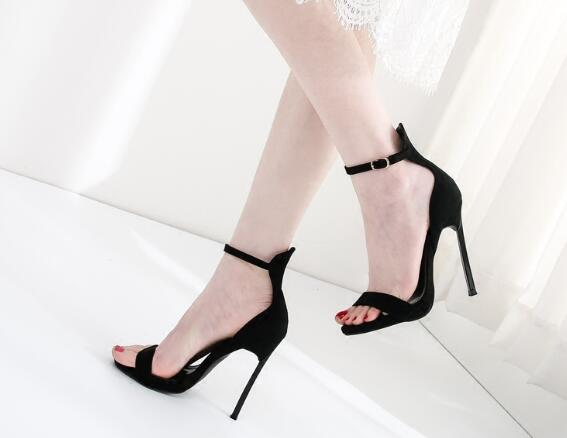 28b3d6f66 Ladies Summer Black Red Caramel Color Super High Thin Heel Sandals Fashion Open  Toe Ankle Strap Suede Leather Sandals Mens Sandals Reef Sandals From ...