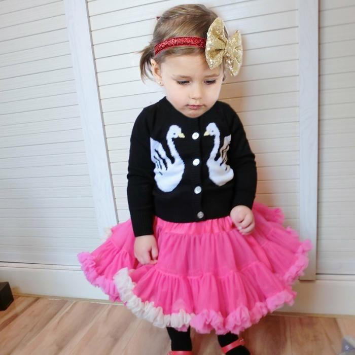 042f27ba37157 EMS DHL Free Elegant girls Black Swan Sweaters Knit Cotton 2017 Autumn  Spring Cardigan 80-120 Children Wear