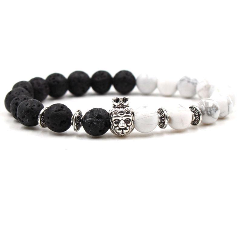 Natural White Turquoise Black Lava Volcanic Stone Bracelet Lion Head Crown Healing Energy Bracelet Elasticity Bracelets 8 Styles G298Q